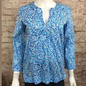 Lilly Pulitzer Tunic XS Blue Shirt Blouse Print